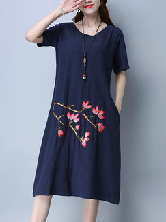 Blue Shift Midi Plus Size Dress for Casual Party