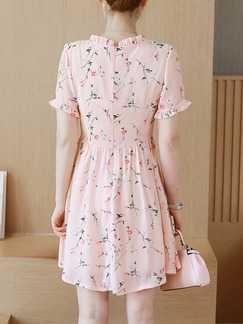 Pink Fit & Flare Above Knee Plus Size Cute Dress for Casual Party