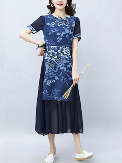 Blue Shift Midi Plus Size Floral Dress for Casual