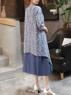Blue Shift Midi Plus Size Dress for Casual Evening