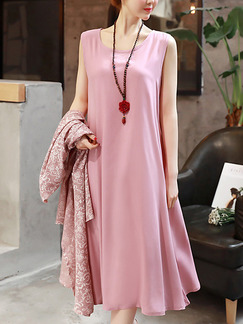 Pink Shift Midi Plus Size Cute Dress for Casual Evening