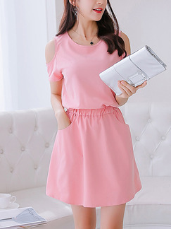 Pink Fit & Flare Above Knee Plus Size Cute Dress for Casual Office Evening Party