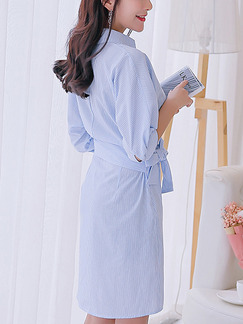 Blue Shift Above Knee Plus Size V Neck Shirt Wrap Dress for Casual