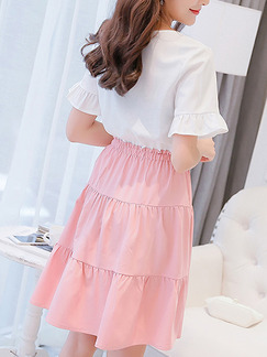 Pink and White Cute Fit & Flare Above Knee Plus Size Dress for Casual Party Evening