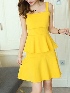 Yellow Fit & Flare Above Knee Plus Size Slip Cute Dress for Casual Office Evening Party