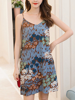 Colorful Shift Above Knee Plus Size Slip Floral Dress for Casual Party