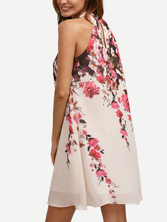 White Pink Colorful Shift Above Knee Plus Size Halter Floral Dress for Casual Party Evening