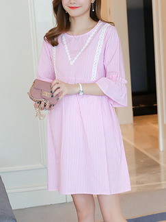 Pink Shift Above Knee Plus Size Cute Dress for Casual Party