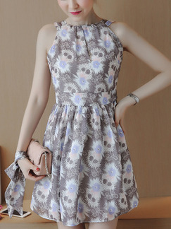 Grey Colorful Fit & Flare Above Knee Halter Dress for Casual Party