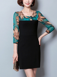 Black and Green Sheath Above Knee Plus Size Dress for Casual Office Evening