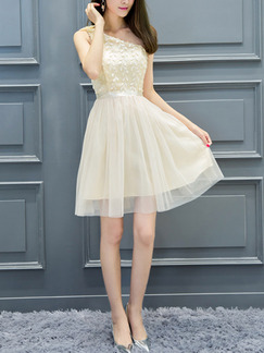 Champagne One Shoulder Fit & Flare Above Knee Dress for Bridesmaid Prom Party