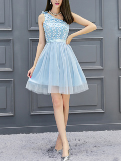 Blue One Shoulder Fit & Flare Above Knee Dress for Bridesmaid Prom Party