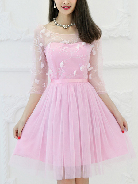 Pink Fit Amp Flare Above Knee Cute Dress For Bridesmaid Prom
