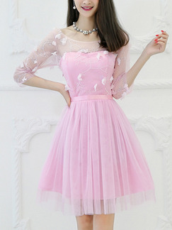 Pink Fit & Flare Above Knee Cute Dress for Bridesmaid Prom