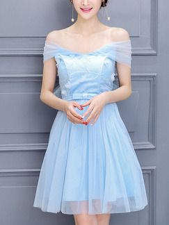 Blue Off Shoulder Fit & Flare Above Knee Dress for Bridesmaid Prom
