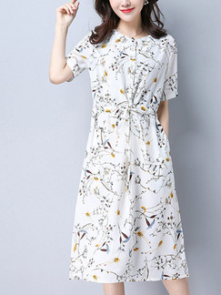 White Shift Knee Length Plus Size Dress for Casual Party