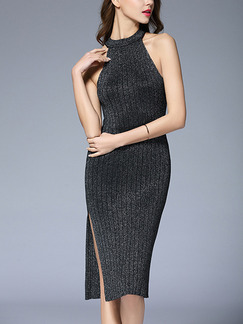 Black Bodycon Knee Length Halter Knitted Dress for Casual Office Evening