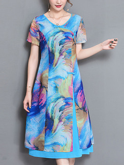 Blue Colorful Shift Knee Length Plus Size Dress for Casual Party
