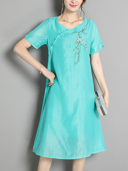 Blue Green Shift Knee Length Plus Size Dress for Casual Office Evening Party