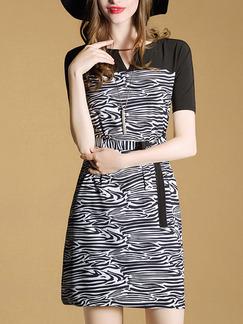 Black and White Sheath Above Knee Plus Size V Neck Dress for Casual Office Evening