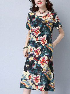 Colorful Shift Knee Length Plus Size Floral Dress for Casual