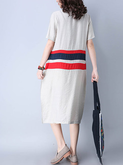 Grey Red and Blue Shift Knee Length Plus Size Dress for Casual