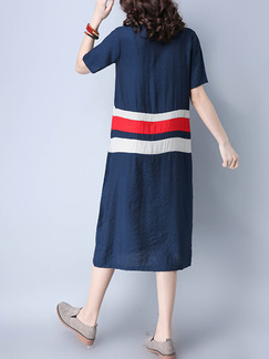 Blue Red and White Shift Knee Length Plus Size Dress for Casual