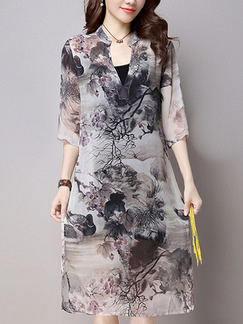 Grey Colorful Shift Knee Length Plus Size V Neck Dress for Casual Office Party Evening