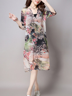 Pink Colorful Shift Knee Length Plus Size V Neck Dress for Casual Party Evening Office