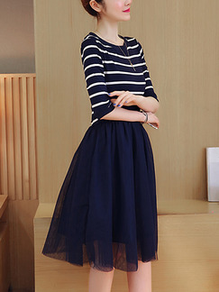 Blue and White Stripe Fit & Flare Knee Length Plus Size Dress for Casual Party Office Evening