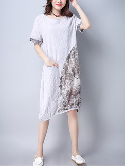 Grey Shift Knee Length Plus Size Dress for Casual Party