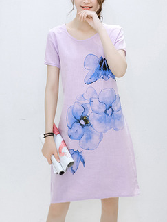 Pink and Blue Shift Above Knee Plus Size Cute Dress for Casual Party