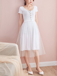 White Fit & Flare Knee Length Dress for Casual Party