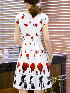 White and Red Fit & Flare Above Knee Plus Size Floral Dress for Casual Party Evening
