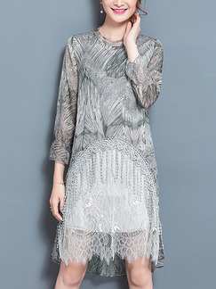 Grey Shift Above Knee Plus Size Lace Dress for Casual Office Evening Party