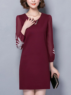 Red Sheath Above Knee Plus Size Long Sleeve Dress for Casual Office Evening