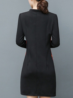Black Sheath Above Knee Plus Size Long Sleeve V Neck Dress for Casual Office Evening