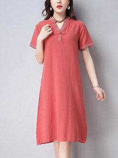 Red Shift Knee Length Plus Size V Neck Dress for Casual Party