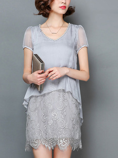 Grey Shift Above Knee Plus Size V Neck Lace Dress for Casual Office Evening Party