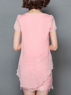 Pink Cute Shift Above Knee Plus Size V Neck Lace Dress for Casual Office Evening Party