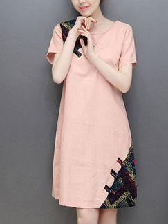 Pink Shift Above Knee Plus Size Cute Dress for Casual Office Party
