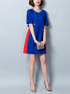 Blue and Red Shift Above Knee Plus Size Dress for Casual Office Evening Party