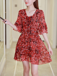 Red Shift Above Knee Plus Size V Neck Dress for Casual Party Evening