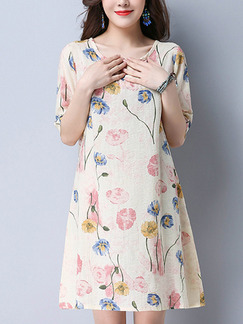 Beige Colorful Shift Above Knee Plus Size Floral Dress for Casual Party