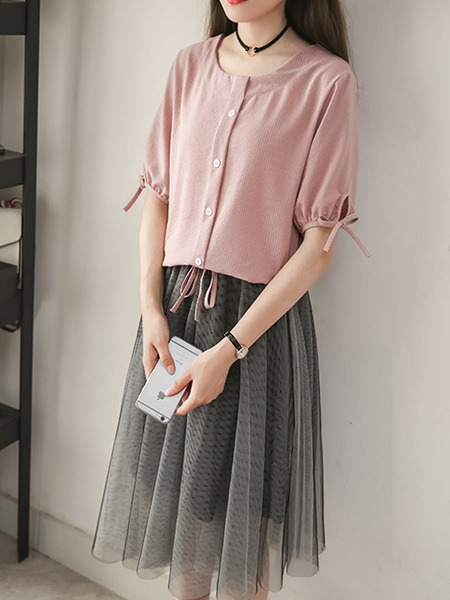 Pink and Grey Two Piece Knee Length Plus Size Cute Dress for Casual Office Evening