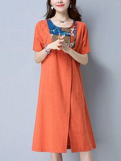 Orange Shift Knee Length Plus Size Dress for Casual Party