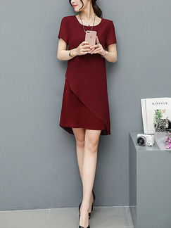 Red Shift Above Knee Plus Size Dress for Casual Office Evening Party