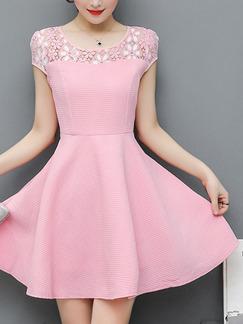 Pink Cute Fit & Flare Above Knee Plus Size Floral Dress for Casual Party Evening Nightclub