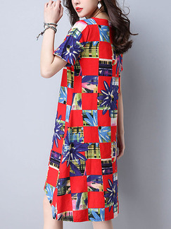 Red Colorful Shift Knee Length Plus Size Dress for Casual Party