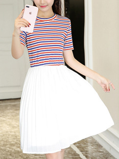White Red and Blue Stripe Fit & Flare Above Knee Plus Size Dress for Casual Office Evening Party